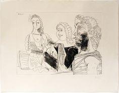 """Pablo Picasso: """"Hombre con chaleco afgano pensando en los amores de un mosquetero con su Dulcinea"""" 33/50 - Subasta Real"""