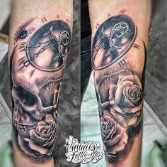 Realistic tattoo Clock tattoo Roses tattoo Skull tattoo