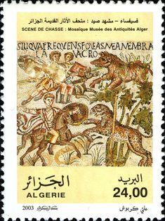 Roman Mosaics – Fired Work – Cherchell Museum DZ N° 015.03 September 17, 2003 | philatelyfriend Timbre Collection, Roman Mosaics, Postage Stamp Art, September 17, Vintage World Maps, Poster, Scene, History, Hunting
