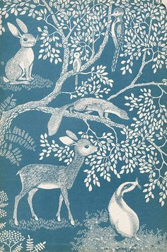 Little forest. Illustration by Inge Friebel, 1959 #art #blue #white #forest #animals #deer #ferret #bunny #rabbit