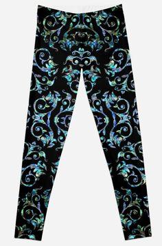 'Elegant Turquoise Pearl Floral Pattern' Leggings by HavenDesign Leggings Fashion, Women's Leggings, Profile Design, Girl Fashion, Turquoise, Pearls, Elegant, Floral, Pattern