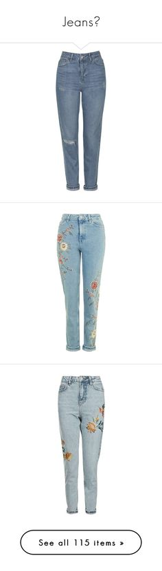 """""""Jeans✨"""" by rosita562 ❤ liked on Polyvore featuring jeans, pants, bottoms, clothing - trousers, pantalones, mid blue, high waisted ripped jeans, topshop jeans, tapered leg jeans and high waisted destroyed jeans"""