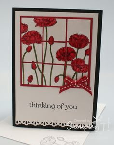 Pleasant Poppies Faux Tile Card ... bright and cheery card ... like how the tiling makes this seem more complex than it really is ... Stampin' Up!