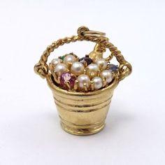 Vintage 14k Gold Pearls Gemstones Champagne on Ice Celebration Charm Pendant | eBay..