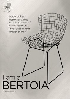 Chairs - A tribute to seats: I-m a Bertoia (poster) Art Print by Artworks by PabloZaratea,,C/ - X-Small Furniture Ads, Furniture Styles, Vintage Furniture, Modern Furniture, Furniture Design, Furniture Websites, Modern Chairs, Harry Bertoia, Home Design
