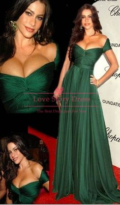 Charming Womans Off the Shoulder Sweetheart A line Floor Length Emerald Green Evening Dresses Celebrity Dresses 2013 New Fashion