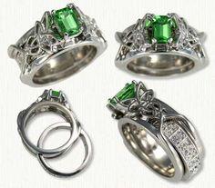 Katie Reverse Cradle Engagement Rings - custom celtic engagement rings with gemstones, diamonds @ best prices! Celtic Engagement Rings, Celtic Wedding Rings, Celtic Rings, Wedding Band Sets, Ring Designs, Wedding Jewelry, Jewelry Rings, Jewlery, White Gold