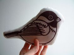Chickadee pillow.  I heart chubby birds.