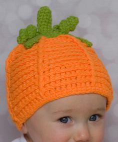 Love this Orange Pumpkin Crochet Beanie by Princess Linens Layette on #zulily! #zulilyfinds