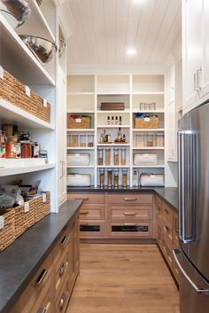 Kitchen Pantry Design, Kitchen Pantry Cabinets, New Kitchen, Kitchen Storage, Pantry Storage, 10x10 Kitchen, Pantry Shelving, Wood Cabinets, Storage Cabinets