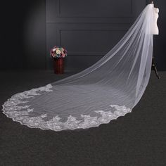 Cathedral Veil 4M Long Wedding Veil 1T Lace Edge White/Ivory bridal Veil + Comb | #wedding #princessbride #casamento #noivado #noivas #casamentos #Wedding Veils #Wedding Dresses #Perfect day #Fulfil the Promises #Memorable day #Swiss network