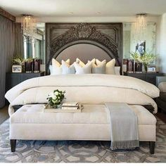 Master bedroom decor tips - Eliminating clutter is the best reaction you can have for those home design. Master Bedroom Design, Dream Bedroom, Home Bedroom, Bedroom Decor, Bedroom Ideas, Bedroom Designs, Master Bedrooms, Fancy Bedroom, Modern Bedroom