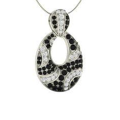 Round Black Diamond Necklace in 14k White Gold with SI Diamond