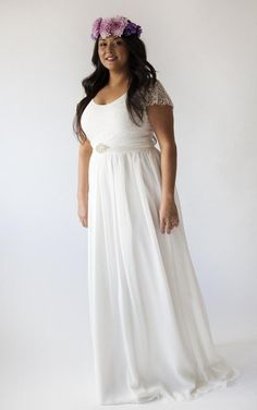 Simple wedding dresses like this work well on plus size women. The ...