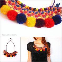 Liene Creations: Pompones en accesorios y bisutería/ Pompoms in accessories and jewelry