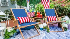 Orly Shani is getting into the Fourth of July spirit with this DIY. Home And Family Crafts, Home And Family Hallmark, Furniture Decor, Outdoor Furniture Sets, Outdoor Decor, Hanging Chair From Ceiling, Restaurant Tables And Chairs, Wooden Dining Room Chairs, 4th Of July Celebration