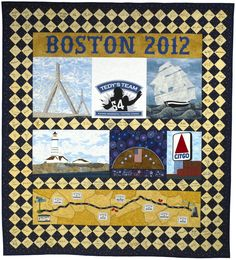 """Enter to win this Boston-themed autograph quilt with signatures of 173 noteworthy sports stars and celebrities with ties to New England.   I am running the 2012 Boston Marathon for Tedy Bruschi's """"Tedy's Team"""" and the American Stroke Association. For each $5.00 tax deductible donation you receive one ticket for this Opportunity Drawing. For full drawing details visit my Facebook or Donation page.  Facebook: Boston 26.2 Autograph QuiltDonation: www.tedysteam2012.kintera.org/boston/pierson"""