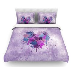 East Urban Home Painted Heart by Nick Atkinson Featherweight Duvet Cover Size: Twin, Fabric: Woven Polyester