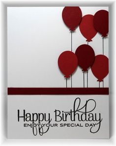 handmade birthday card from Scrappin' and Stampin' in GJ ... shades of red on white ... great arrangement of punched balloons ...