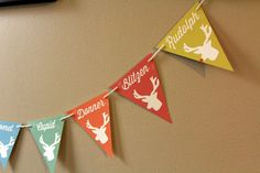 This is so cute--each flag features a reindeer's name! I had a similar idea (reindeer free) for the empty wall in the living room 12 Days Of Christmas, Christmas Diy, Christmas Decorations, Christmas Ornaments, Holiday Decor, Reindeer Names, Room For Improvement, Holiday Banner, Cute Diys
