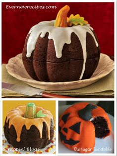 """Bundt cake pumpkin for our halloween gender reveal. Use plain cake mix and food coloring to make the cake color and butter cream frosting colored orange, smashed rice crispie covered in green frosting for a stem and green frosting vines and leaves. Use black piped frosting for the words """"It's A..."""""""