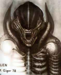 "The Original ""Alien"" Concept Art Is Terrifying - HR Giger - Alien Film, Alien 1979, Alien Art, Alien Convenant, Hr Giger Art, Hr Giger Alien, Xenomorph, Concept Art Alien, Alien Vs Predator"