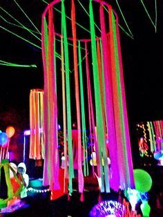 Great for a of July Party.Neon flagging tape on hulla hoop, glow party decoration Glow Party Decorations, Party Decoration Ideas, School Dance Decorations, Hanging Decorations, Festival Decorations, Birthday Decorations, Table Decorations, Glow In Dark Party, Glow Stick Party