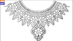 Silk Ribbon Embroidery, Embroidery Patterns, Hand Embroidery, Jewelry Design Drawing, Sewing Patterns Girls, Fancy Blouse Designs, Egyptian Jewelry, Collar Pattern, Pattern Drafting