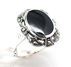 Black Onyx Marcasite Ring 925 Solid Sterling Silver Size 6 - 9 NWT #SterlingSilverRing