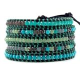 Turquoise and Light Azore Wrap Bracelet on Natural Brown Leather  $195.00