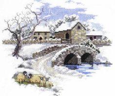 """Winterbourne Farm Cross Stitch Kit - Derwentwater Designs - 8"""" x 7"""" - 16 Count"""