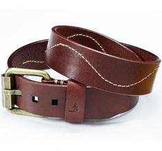 6.2 mm thick belt, top grain cowhide leather with full hand stitched wave pattern and unique brass buckle.