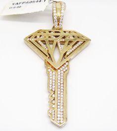 Bold YAGI 925 Gold Tone Sterling Silver Micro Pave C Z  Key Pendant  #LeonDiamond #Pendant