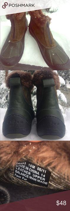 ⬇️$50 Clark's Privo Faux Fur Suede Zip Bootie Army green booties from Privo by Clark's. Faux fur on upper ankle. Front zipper. Privo Shoes Winter & Rain Boots