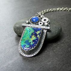 Azurite Malachite and Lapis Sterling Silver by McComseyDesigns