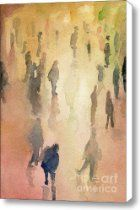 Figures Grand Central Station Watercolor Painting of NYC Canvas Print / Canvas Art - Artist Bever...