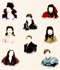 Faceless: The Evil Queen, Red Riding Hood, Captain Hook, Snow White, Belle, Prince Charming, Rumplestiltskin and The Huntsman