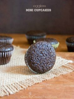 Eggless Chocolate Mini Cupcakes   CrunchyCreamySweet.com The best eggless cupcakes! You need to try this recipe! Rich in color and flavor - a total favorite!