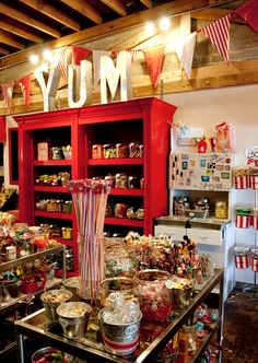 Retail Space/Display Ideas Smeeks Candy Store: I love the jumbo YUM with over-sized pendents- such great inspiration! behind