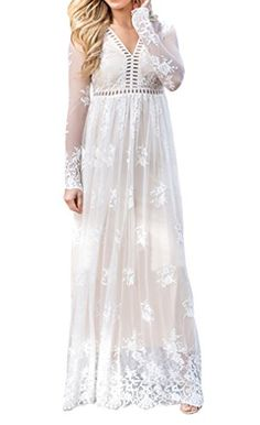 online shopping for Imily Bela Women's Vintage Chiffon Long Sleeve Wedding Bridesmaid Summer Beach Maxi Long Dress from top store. See new offer for Imily Bela Women's Vintage Chiffon Long Sleeve Wedding Bridesmaid Summer Beach Maxi Long Dress Long White Maxi Dress, White Dress, Lace Dress, Vestidos Vintage, Vintage Dresses, Casual Dresses For Women, Cute Dresses, Long Dresses, Maxi Dresses