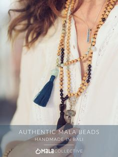 Authentic mala beads handmade in Bali. Featuring Rudraksha seeds, labradorite, obsidian, mixed white moonstone, mixed amazonite and more.