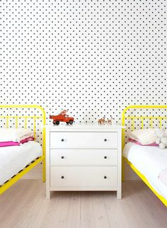 Polka dot walls and yellow beds - so fun for a kids room. (South Yarra House By Techne Architects) Pad Design, Deco Design, Design Trends, Childrens Room, Polka Dot Walls, Polka Dots, Deco Kids, Yellow Bedding, Bedroom Yellow