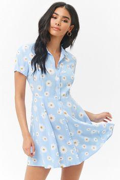 Product Name:Daisy Print Shirt Dress, Category:dress, Simple Dresses, Cute Dresses, Casual Dresses, Casual Outfits, Cute Outfits, Summer Dresses, Mini Dresses, Girls Fashion Clothes, Fashion Outfits