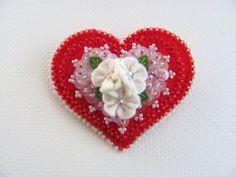 Felt Heart Pin by Beedeebabee on Etsy, $30.00