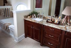 Waypoint Living Spaces® makes remodeling easier with design professionals that offer more than beautiful cabinetry for kitchens, baths, or any room in your home Bath Cabinets, Bordeaux, Living Spaces, Bathrooms, Cherry, Kitchen, Design, Home Decor, Style