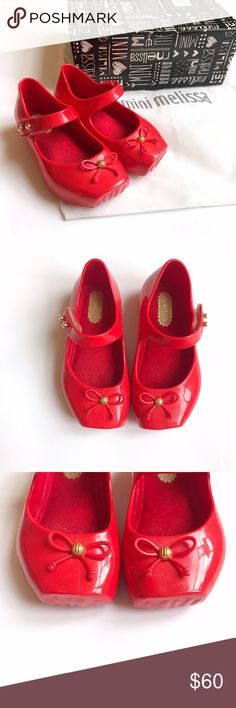 ✨New✨Mini Melissa Ballet Mary Janes Vibrant red Mini Mel's in Mary Jane style. Ballet flats have suede insoles, like she's walking down a red carpet! Bows with gold jewel on toes. Velcro strap has gold jewels as well.  These are in near perfect condition. Only worn 1x around the house before we realized they were pinching her toes. Comes in box with sister bag. Mini Melissa Shoes Sandals & Flip Flops