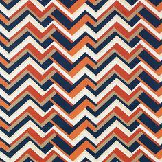 Blue Orange Upholstery Drapery Fabric Large by PopDecorFabrics