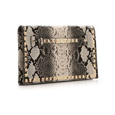 Urban Expressions Reptile Stud Clutch | DSW ($35) ❤ liked on Polyvore featuring bags, handbags, clutches, brown purse, studded purse, brown studded handbag, urban expressions handbags and urban expressions purse