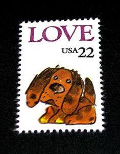 AIME le cachet 22c Puppy LOVE... Ensemble de 50... Timbres-poste inutilisés des Vintage