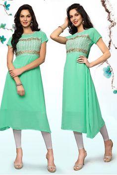 green desiner real georgette party wear kurti 6756
